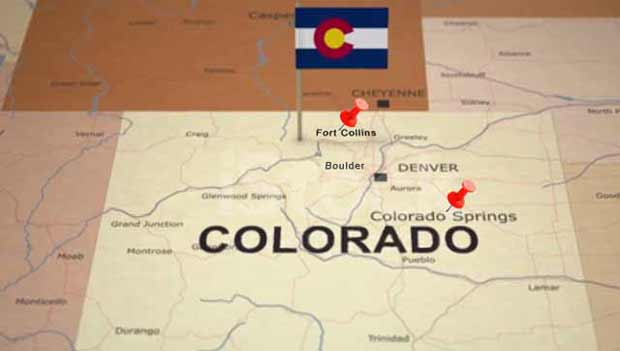 Fort Collins and Colorado Springs Map